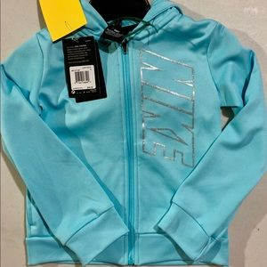 Nike light aqua zip up Dri-fit hoodie